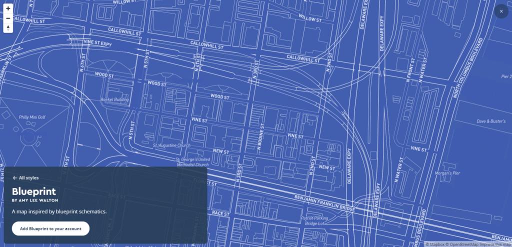 Cтиль Blueprint из галереи Mapbox