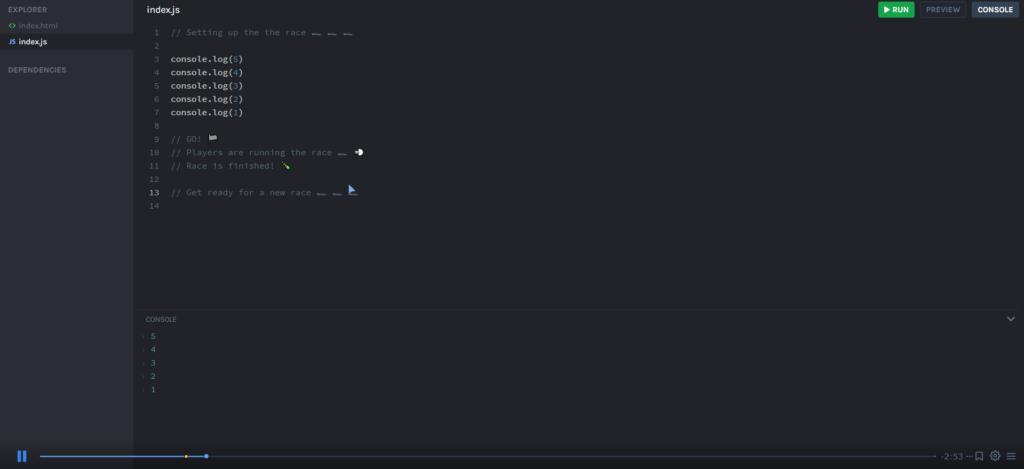 Обучающий скринкаст совмещен с редактором кода — такой вот уникальный интерактивный формат в Scrimba