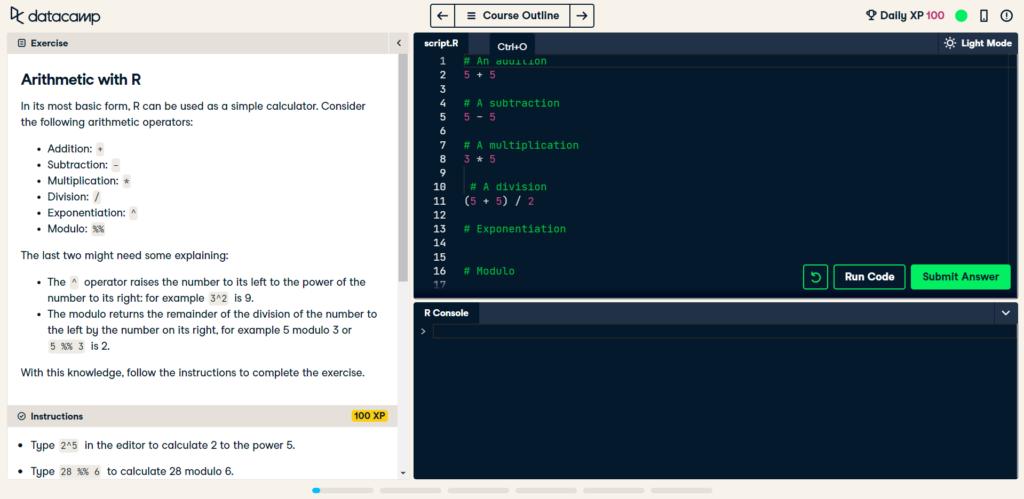 Из вводного курса по программированию R на Datacamp