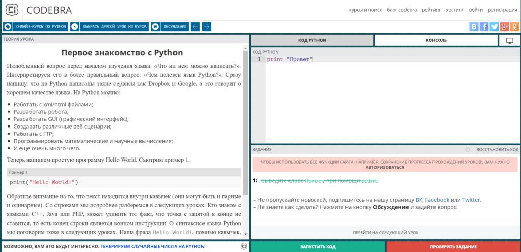Так выглядят уроки по программированию на сайте codebra.ru