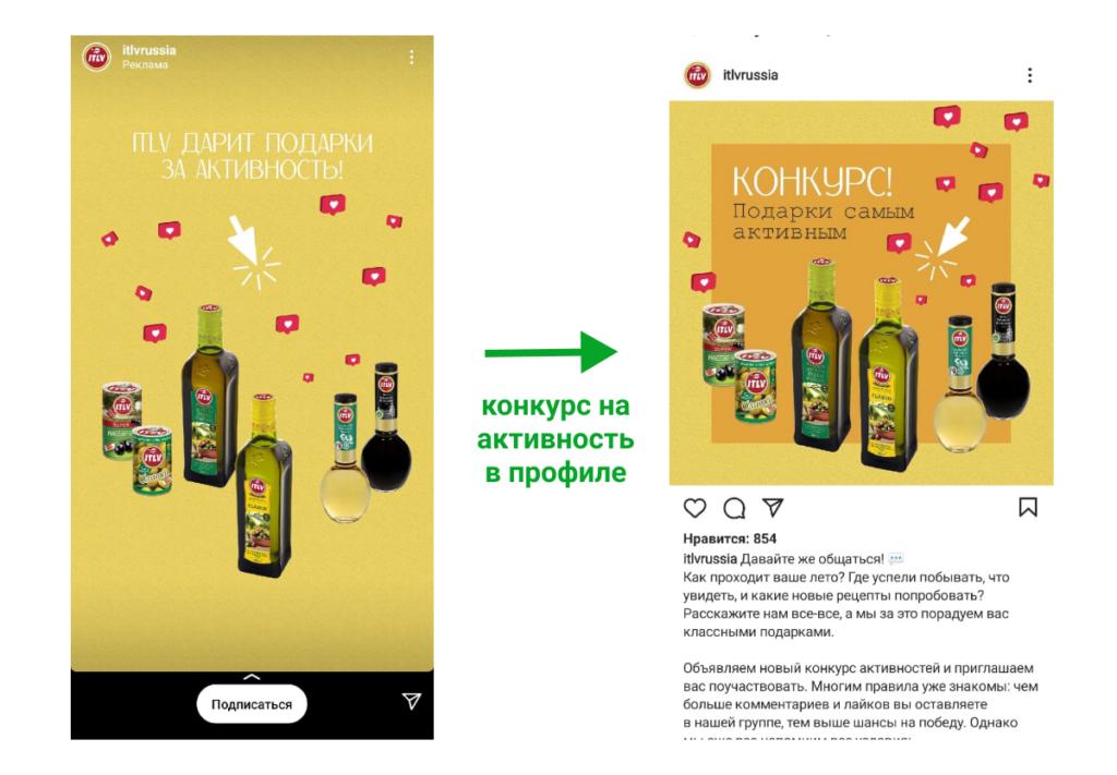 Пример рекламы конкурса на повышение активности профиля